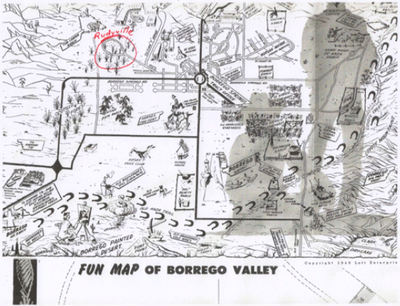 Rudyville shown on 1940s Fun Map